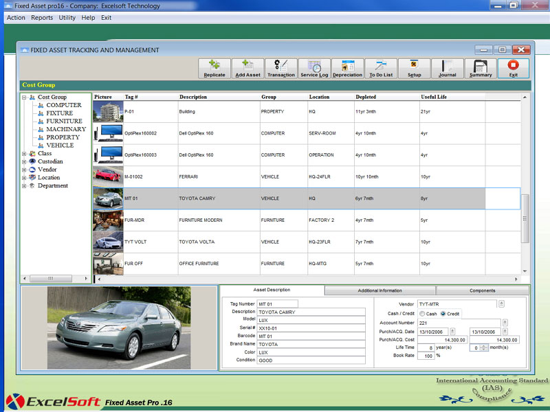 Click to view Fixed Asset Pro16 screenshots